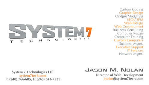 System 7 technologies business card design services metro custom designed business card examples colourmoves